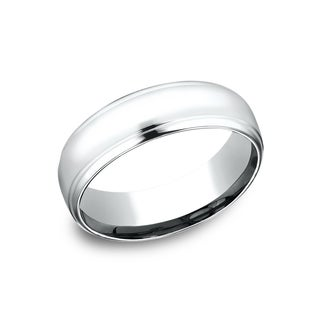 14k White Gold Men's 6.5 mm Shining High Polished Finish Comfort Fit Wedding Band