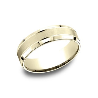 14k Yellow Gold Men's 6.5 mm Satin Finish Comfort Fit Wedding Band