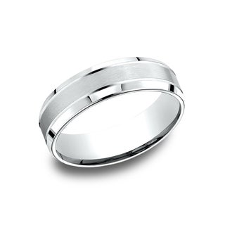 14k White Gold Men's 6.5 mm Satin Finish Center Comfort Fit Wedding Band