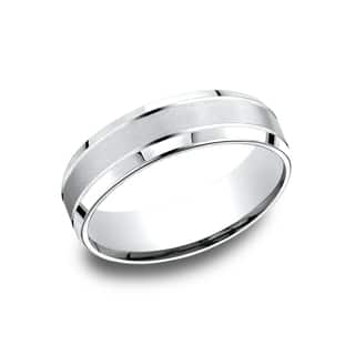 14k White Gold Men's 6.5 mm Satin Finish Center Comfort Fit Wedding Band|https://ak1.ostkcdn.com/images/products/14227174/P20818813.jpg?impolicy=medium