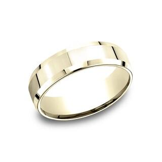 14k Yellow Gold Men's 6.5 mm Shining High Polished Finish Comfort Fit Wedding Band