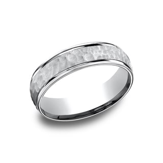 14k White Gold Men's 6.5 mm Matte Hammered Center Comfort Fit Wedding Band