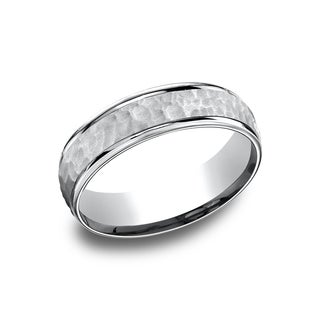 14k White Gold Men's 6.5 mm Matte Hammered Center Comfort Fit Wedding Band (More options available)