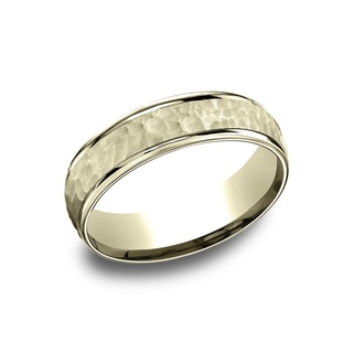 14k Yellow Gold Men's 6.5 mm Matte Hammered Center Comfort Fit Wedding Band