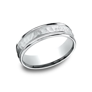 14k White Gold Men's 6.5 mm Matte Hammered Center With Milgrain Accents Comfort Fit Wedding Band