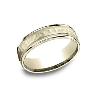 14k Yellow Gold Men's 6.5 mm Matte Hammered Center With Milgrain Accents Comfort Fit Wedding Band