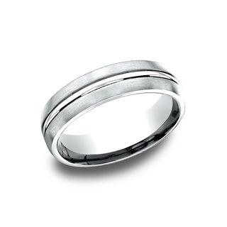 14k White Gold Men's 6.5 mm Satin Finish Comfort Fit Wedding Band