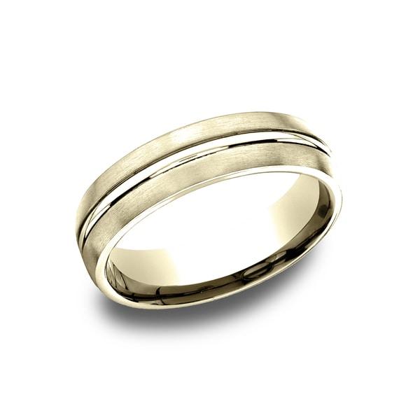 20c6ab62947 Men  x27 s 6.5 mm 14k Yellow Gold Satin Finish Comfort Fit Wedding Band