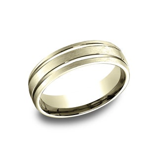 14k Yellow Gold Men's 6.5 mm Satin Center Accented Comfort Fit Wedding Band