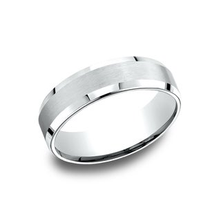 14k White Gold Men's 6.5 mm Satin Center Comfort Fit Wedding Band