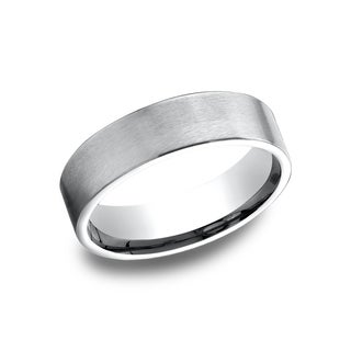 14k White Gold Men's 6.5 mm Flat Profile Comfort Fit Wedding Band