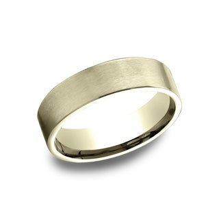 14k Yellow Gold Men's 6.5 mm Flat Profile Comfort Fit Wedding Band