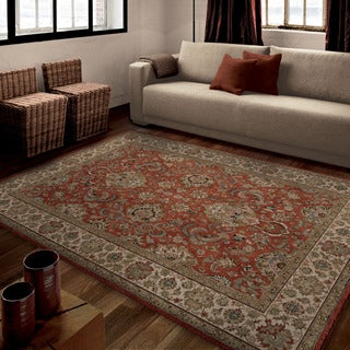Carolina Weavers Brilliance Collection Nostalgic Border Rust Red (5'3 x 7'6) Area Rug