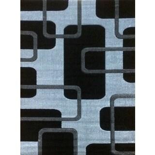 Istanbul Black Polypropylene Modern Design Area Rug (3' x 8')