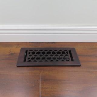 Unikwities 4X10 Art Nouveau Solid Cast Metal Decorative Floor Register with Dark Bronze Finish
