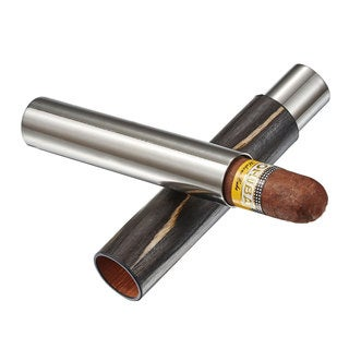 Visol Admon Dark Exotic Wood Wrapped Cigar Tube