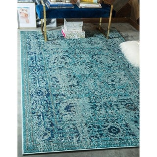 Over Dyed Navy/Ivory Polypropylene Vintage Palazzo Rug (10' x 13')
