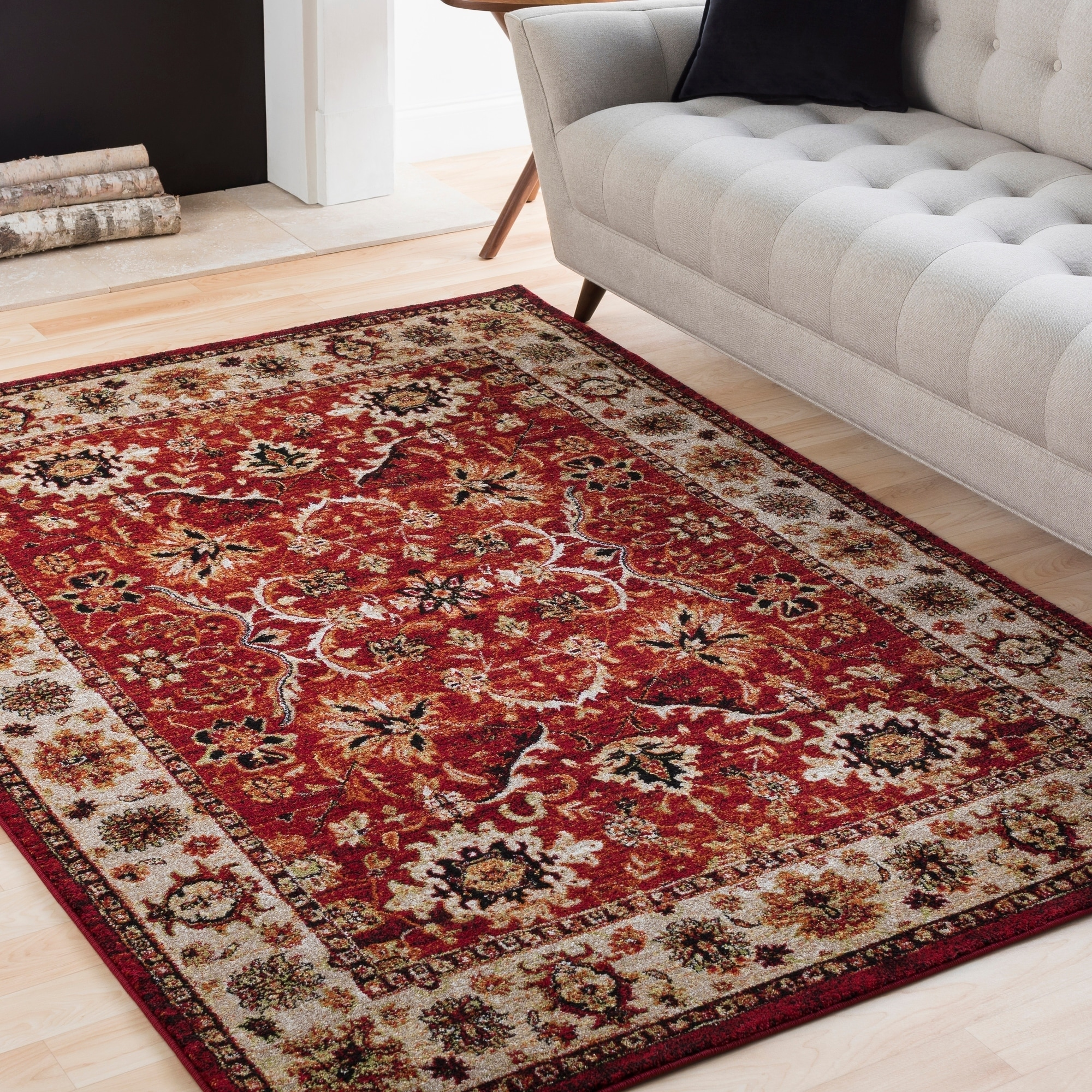 SURYA Isabelle Red & Ivory Vintage Traditional Rug (9'3 x...