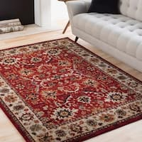 """Isabelle Red & Ivory Vintage Traditional Area Rug - 9'3"""" x 12'6"""""""
