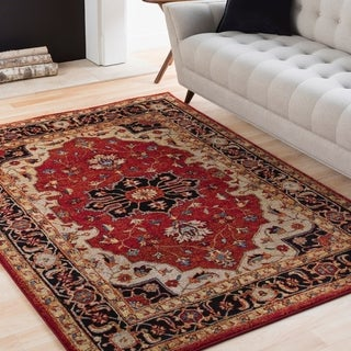 Eleanor Red & Black Updated Traditional Persian Rug (9'3 x 12'6)