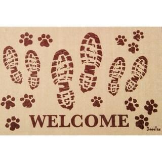 "Doortex Indoor Entrance Mat Welcome Mat with Bootprint Design Rectangular Size 24"" x 39"""