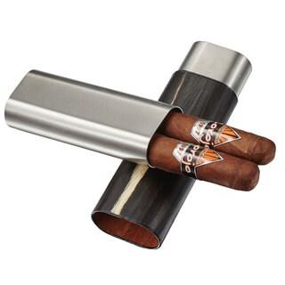 Visol Ryland Natural Wood & Stainless Steel Cigar Case