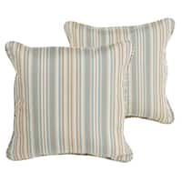 Sawyer Teal and Tan Stripe Indoor/ Outdoor 18 inch Corded Pillow Set