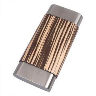 Visol Terran Zebrawood & Stainless Steel Cigar Case