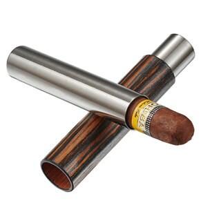Visol Admon Ebony Wood Wrapped Cigar Tube