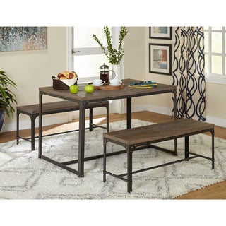 Simple Living 3pc Scholar Vintage Industrial Table And Dining Bench Set Part 89