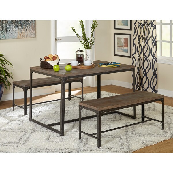 Delicieux Simple Living 3pc Scholar Vintage Industrial Table And Dining Bench Set