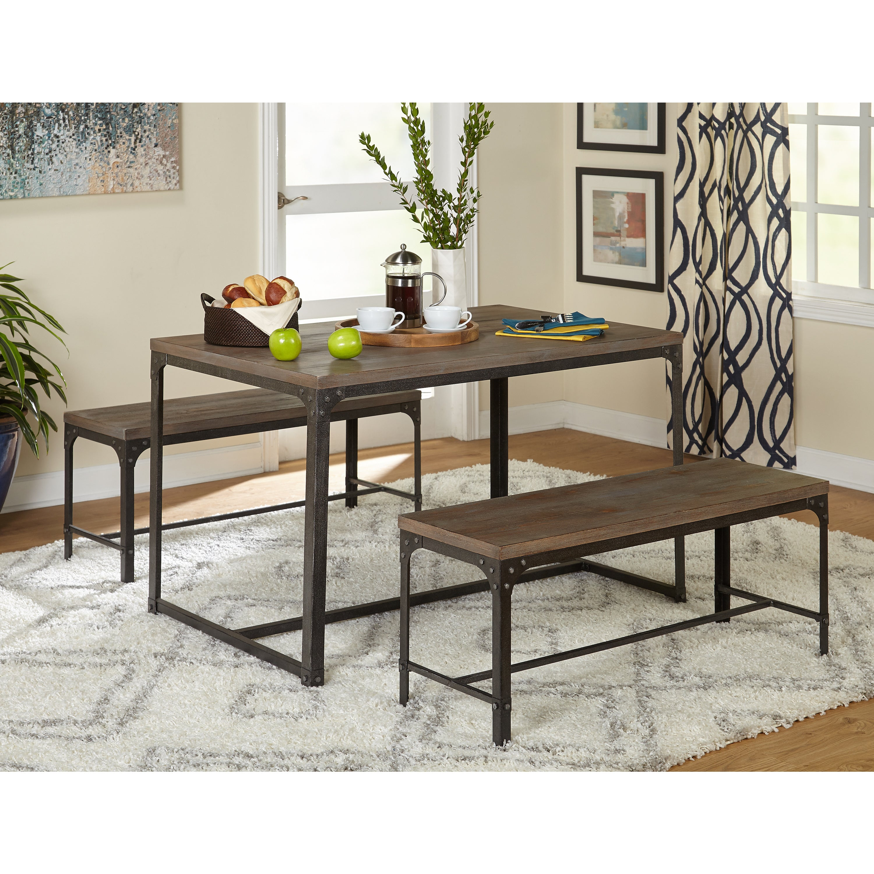Wondrous Simple Living 3Pc Scholar Vintage Industrial Table And Dining Bench Set Ibusinesslaw Wood Chair Design Ideas Ibusinesslaworg