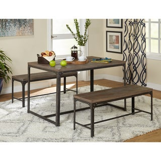 Simple Living 3pc Scholar Vintage Industrial Table and Dining Bench Set