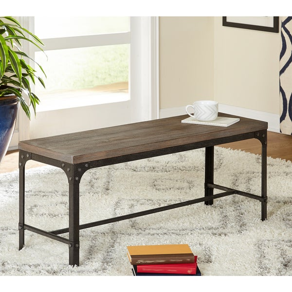 Simple Living Scholar Vintage Industrial Dining Bench by Simple Living
