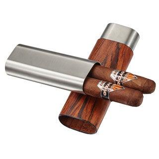 Visol Ryland Dark Exotic Wood & Stainless Steel Cigar Case