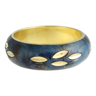 Blue and Goldtone Leaf Bangle Bracelet