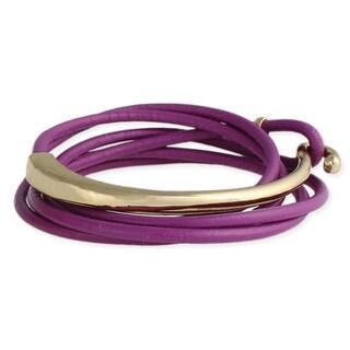 Lavender and Goldtone Leather Wrap Bracelet