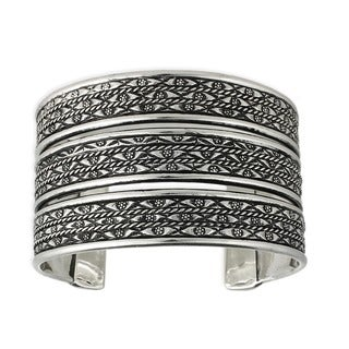 Silveroverlay Ethnic Engraved Design Cuff Bracelet