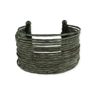 Patina Hammered Multi-Line Cuff Bracelet