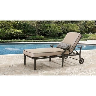 Sunjoy Catelynn Steel and Aluminum Chaise Lounge with Beige Cushions