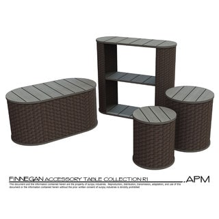 Sunjoy 2-piece Accent Table Set Made of Steel and Woven Resin in Dark Brown