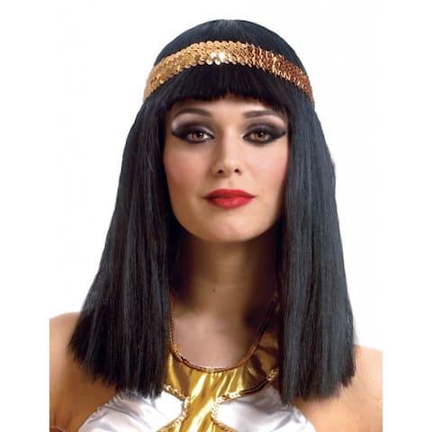 Cleopatra Black Wig With Gold Headband