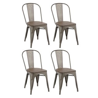 Industrial Metal Vintage Antique Distressed Dining Bistro Cafe Stackable Dining Chair (Set of 4 )