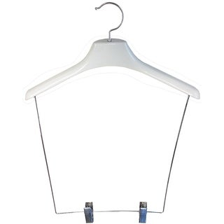 Heavy-duty White Plastic Display Hanger with 12-inch Drop and Clips (Pack of 12)