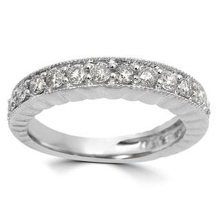 Noori 3/5 CT Round Diamond Ring Band 14k White Gold (I1-I2/H-I)