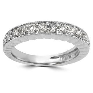 Noori 1/2 CT Round Diamond Ring Band 14k White Gold (I1-I2/H-I)