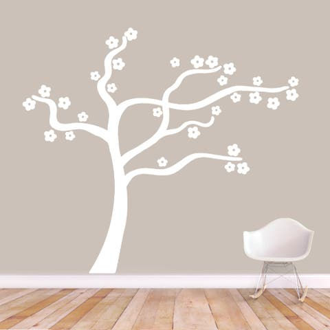 Blowing Flower Tree Wall Decal