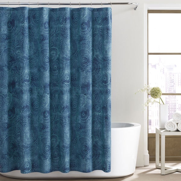 City Loft Alana Blue Cotton Shower Curtain