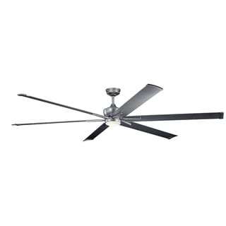 Kichler Lighting Szeplo Patio Collection 96-inch Weathered Steel Powder Coat LED Ceiling Fan