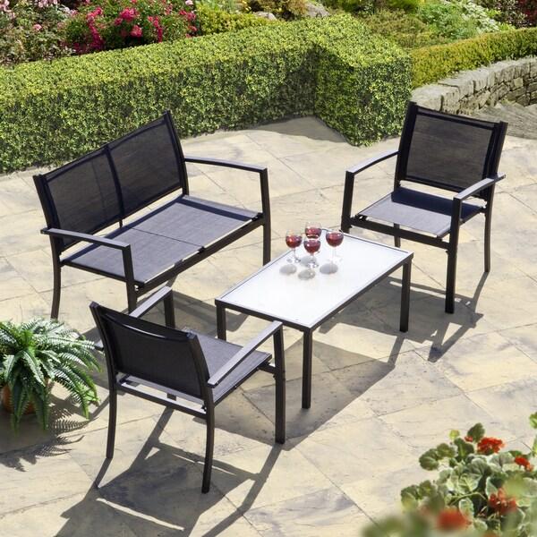 Brasilia Garden Set Black Textilene & Shop Brasilia Garden Set Black Textilene - Free Shipping Today ...